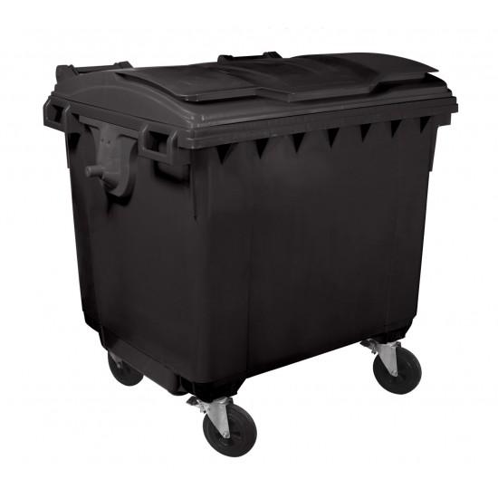 Container HDPE CLF 1100L cu capac plat negru