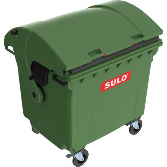 Eurocontainer din material plastic 1100 l verde cu capac rotund MEVATEC - Transport Inclus