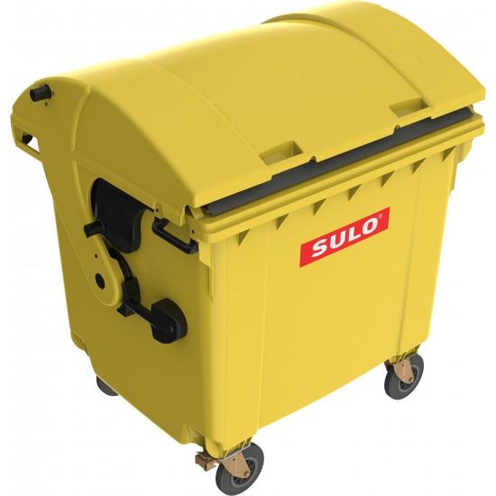 Eurocontainer din material plastic 1100 l galben cu capac rotund MEVATEC - Transport Inclus