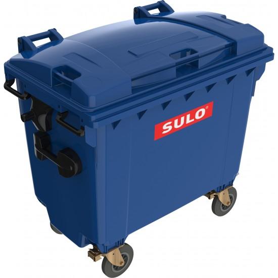Eurocontainer din material plastic 660 l albastru cu capac plat MEVATEC - Transport Inclus