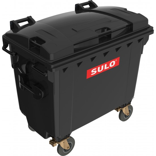 Eurocontainer din material plastic 660 l negru cu capac plat MEVATEC - Transport Inclus