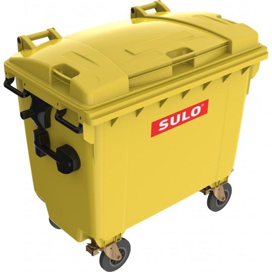 Eurocontainer din material plastic 660 l galben cu capac plat MEVATEC - Transport Inclus