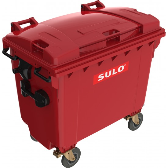 Eurocontainer din material plastic 660 l rosu cu capac plat MEVATEC - Transport Inclus