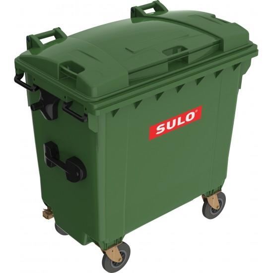 Eurocontainer din material plastic 770 l verde cu capac plat MEVATEC - Transport Inclus