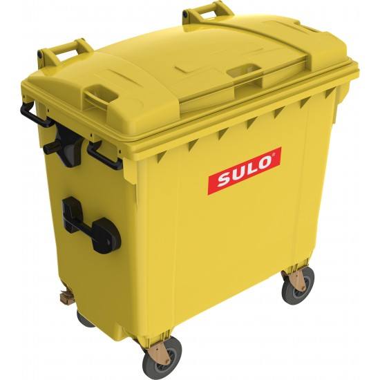 Eurocontainer din material plastic 770 l galben cu capac plat MEVATEC - Transport Inclus