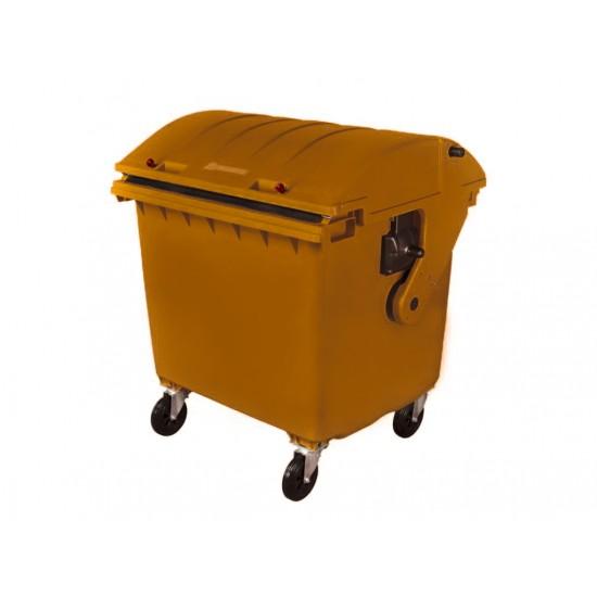 Container HDPE CLE 1100L cu capac rotund maro