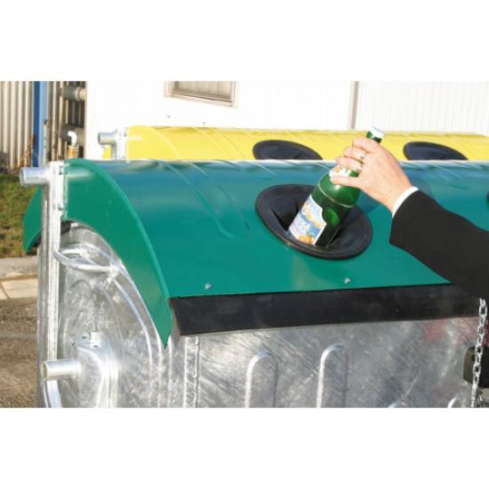 Eurocontainer zincat 1100 l - capac verde, colectare sticla