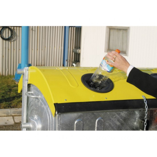 Eurocontainer zincat 1100 l - capac galben, colectare plastic