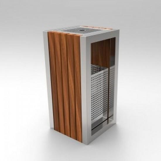KUOKIO C Cos scrumiera cu design modern din otel inoxidabil si lemn