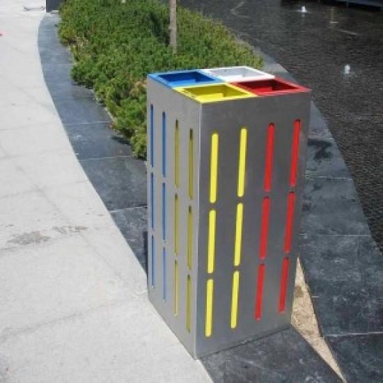 OSLO S Insula pentru reciclare din inox sau metal pentru spatii moderne