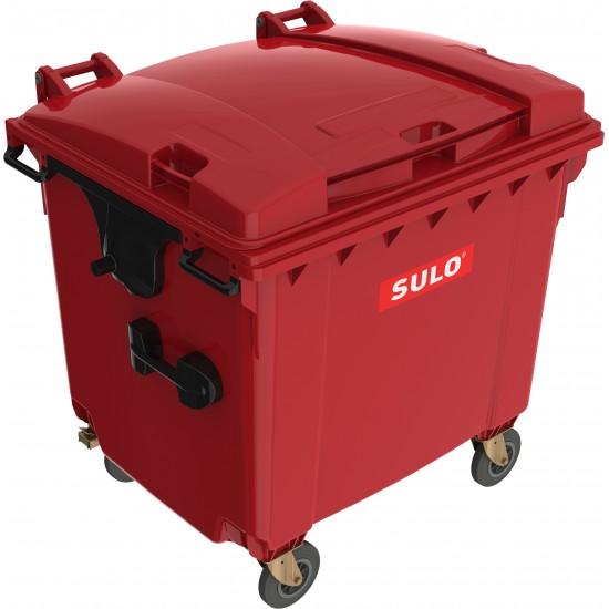 Eurocontainer din material plastic 1100 l rosu cu capac plat MEVATEC - Transport Inclus