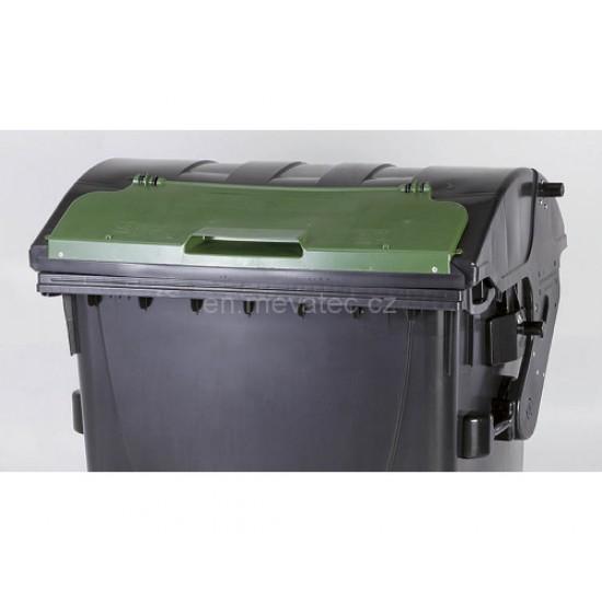 Eurocontainer din material plastic 1100 l negru capac in capac verde MEVATEC - Transport Inclus