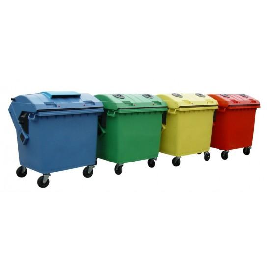 Container HDPE CLE 1100L cu capac rotund rosu