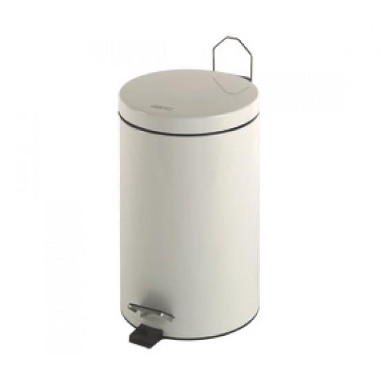 Cos gunoi circular cu pedala, otel vopsit alb, 5 L, Mediclinics