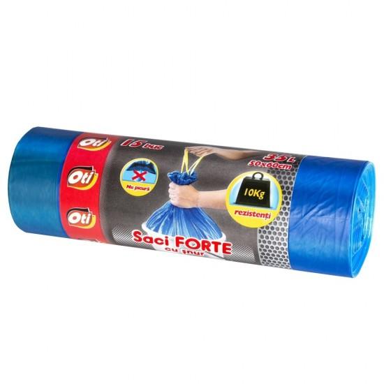 Saci FORTE cu snur, 35L, albastru, 15 buc./rola